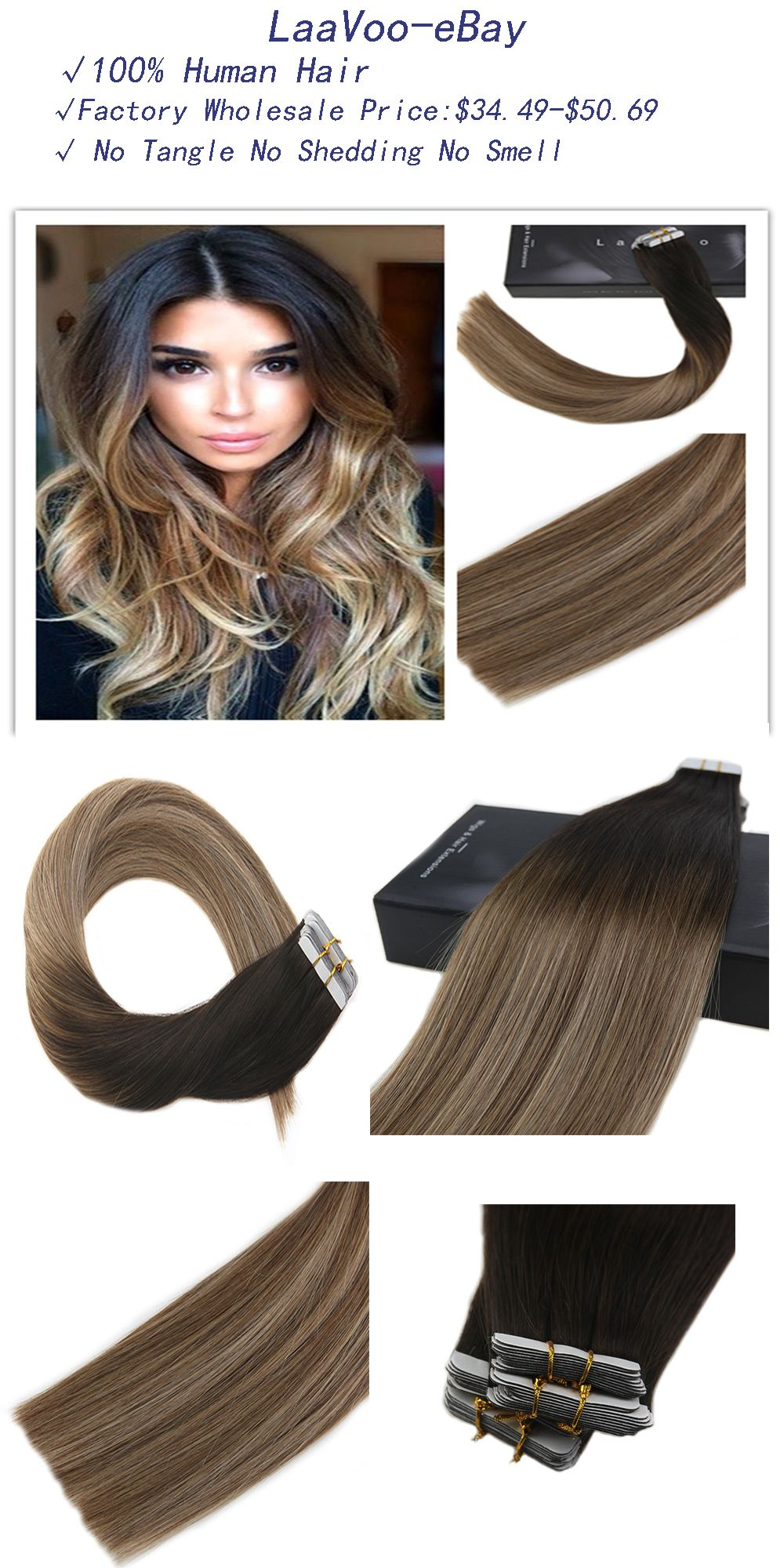 50g Tape In Skin Weft Human Hair Extensions Balayage Ombre Color