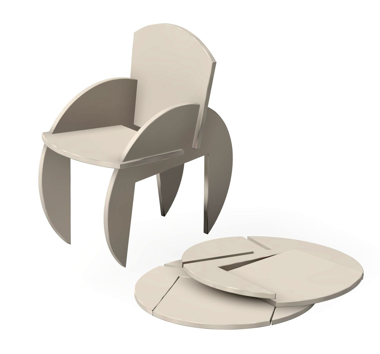 Flat pack chair assembled from two identical pieces for Flat pack muebles