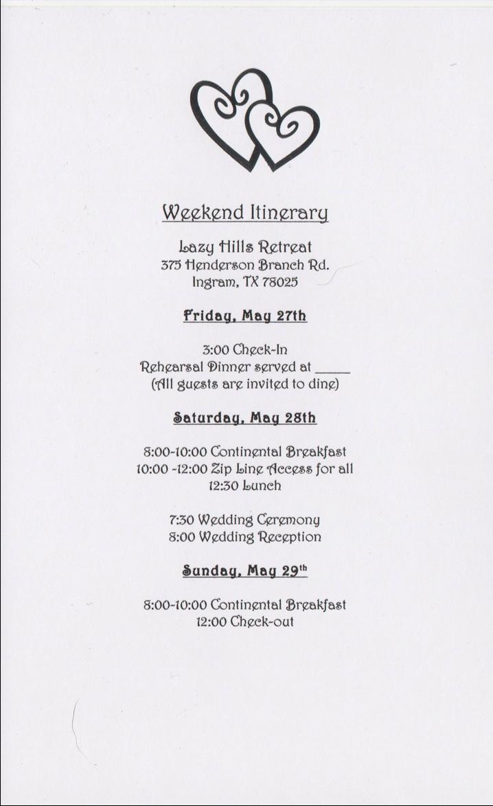 Wedding Weekend Itinerary Template   Invitation Templates Design