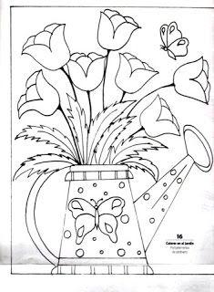Desenho De Regador Com Tulipas Para Pintar Desene Flores