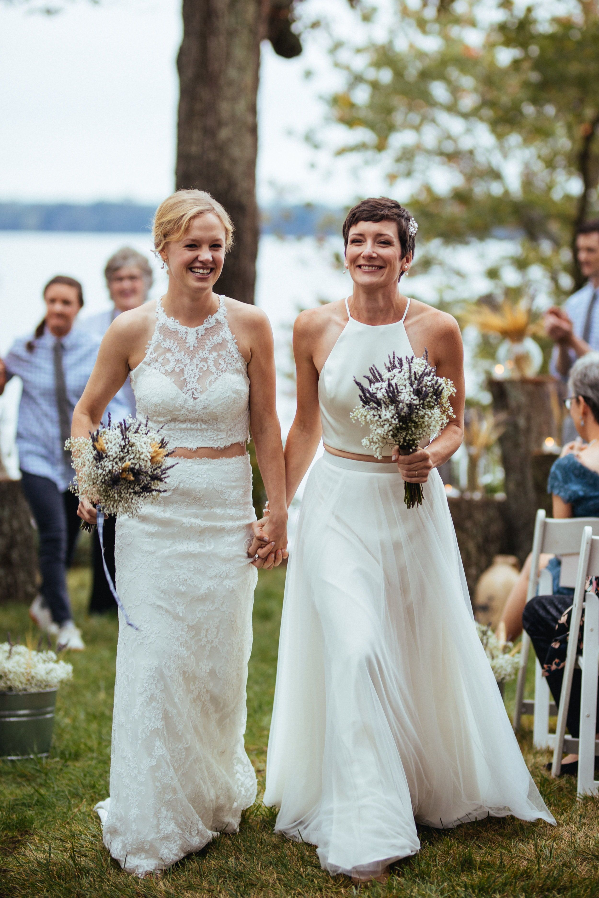Willowby wedding dresses  Real Wedding Mel  Nell  Peaceful Lakeside Wedding with Two