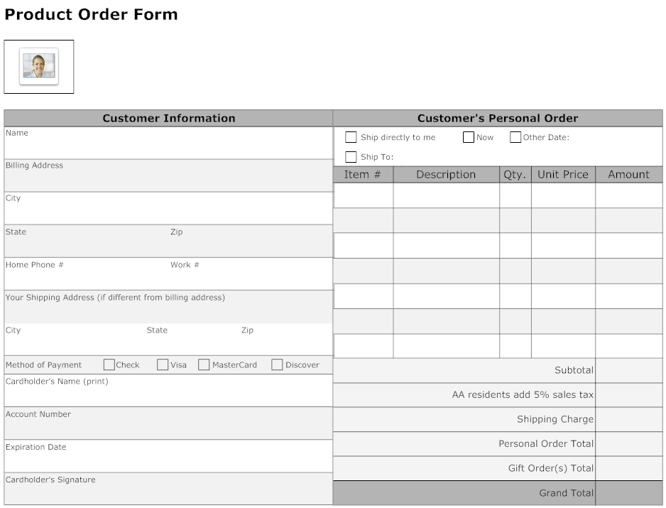 Example Image Product Order Form  Work    Order Form