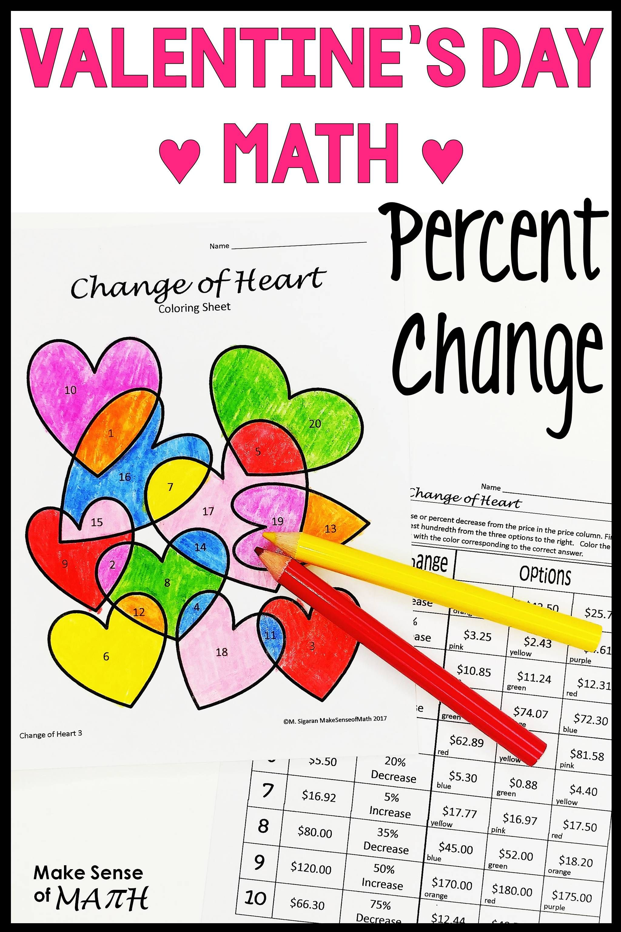 Valentine S Day Math Activity Percent Change Increase