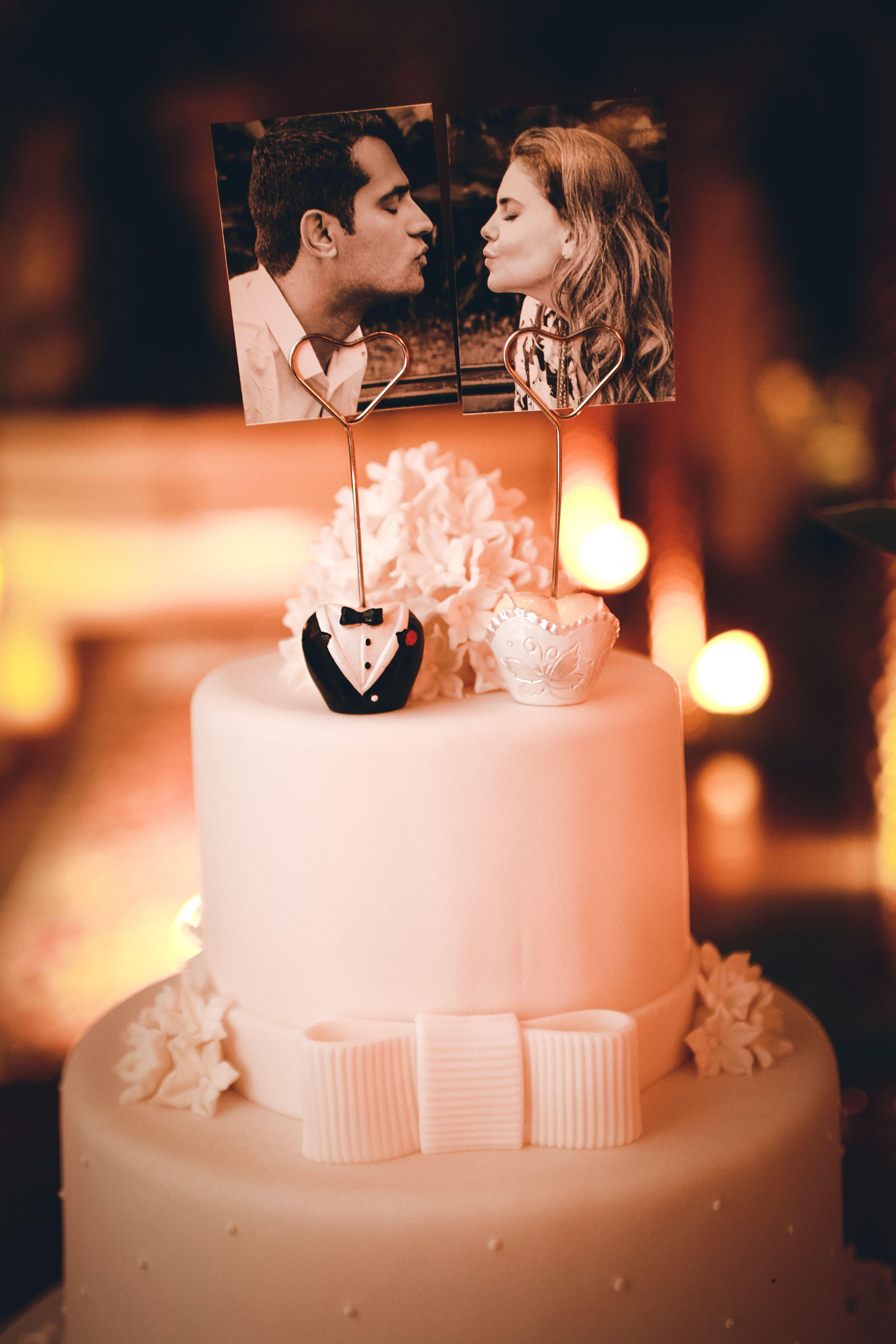 topo de bolo cake topper foto casal Bolo de casamento