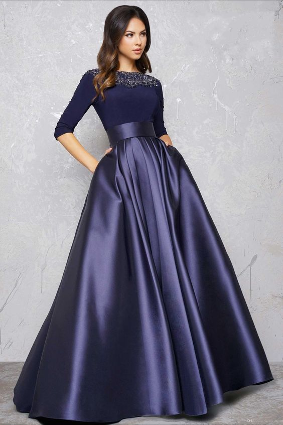 Long Sleeve Evening Gowns Formal Dress A Line Party Dress