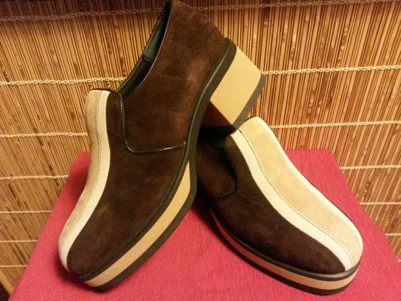 Hush Puppies Brown With Tan Stripe Suede Platform By Wyntage Boots Chelsea Boots Mod Fashion