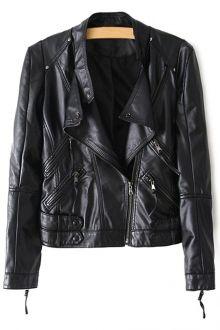 Stand Neck Zippered PU Leather Jacket $36.99
