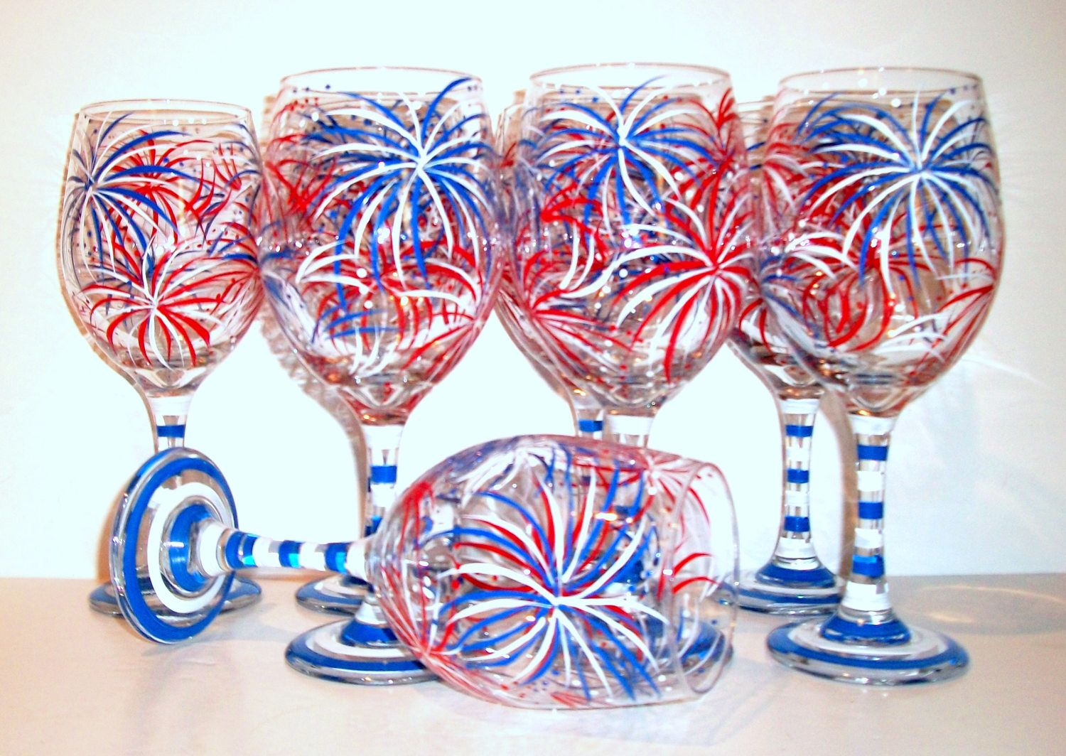 July 4th Fireworks Hand Painted Wine Glasses July Fourth Bridesmaids ...