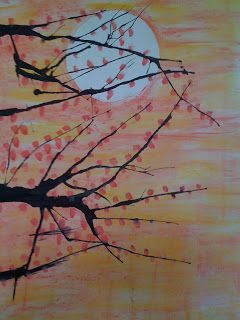 blown ink---continuation of trees for 5th grade--create background-maybe value scale moon, blow ink and add leaves with pencil erasers