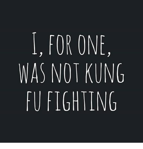 I FOR ONE WAS NOT KUNG FU FIGHTING   Meme on ME.ME