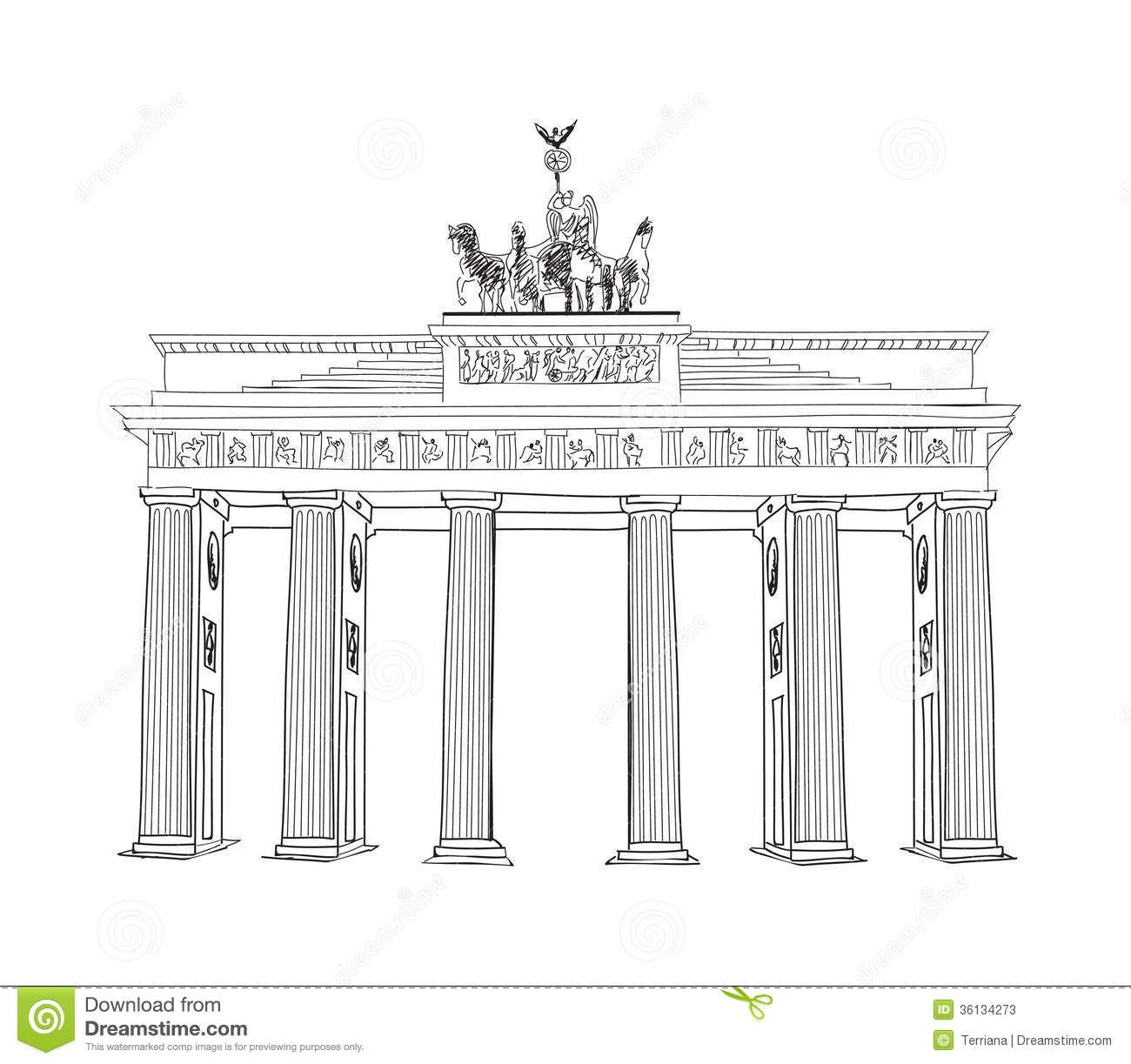 Coloriage La Porte De Brandebourg Stock Photos The Brandenburg Gate In Berlin Hand Drawn Pencil Sketch Brandenburg Gate How To Draw Hands Brandenburg