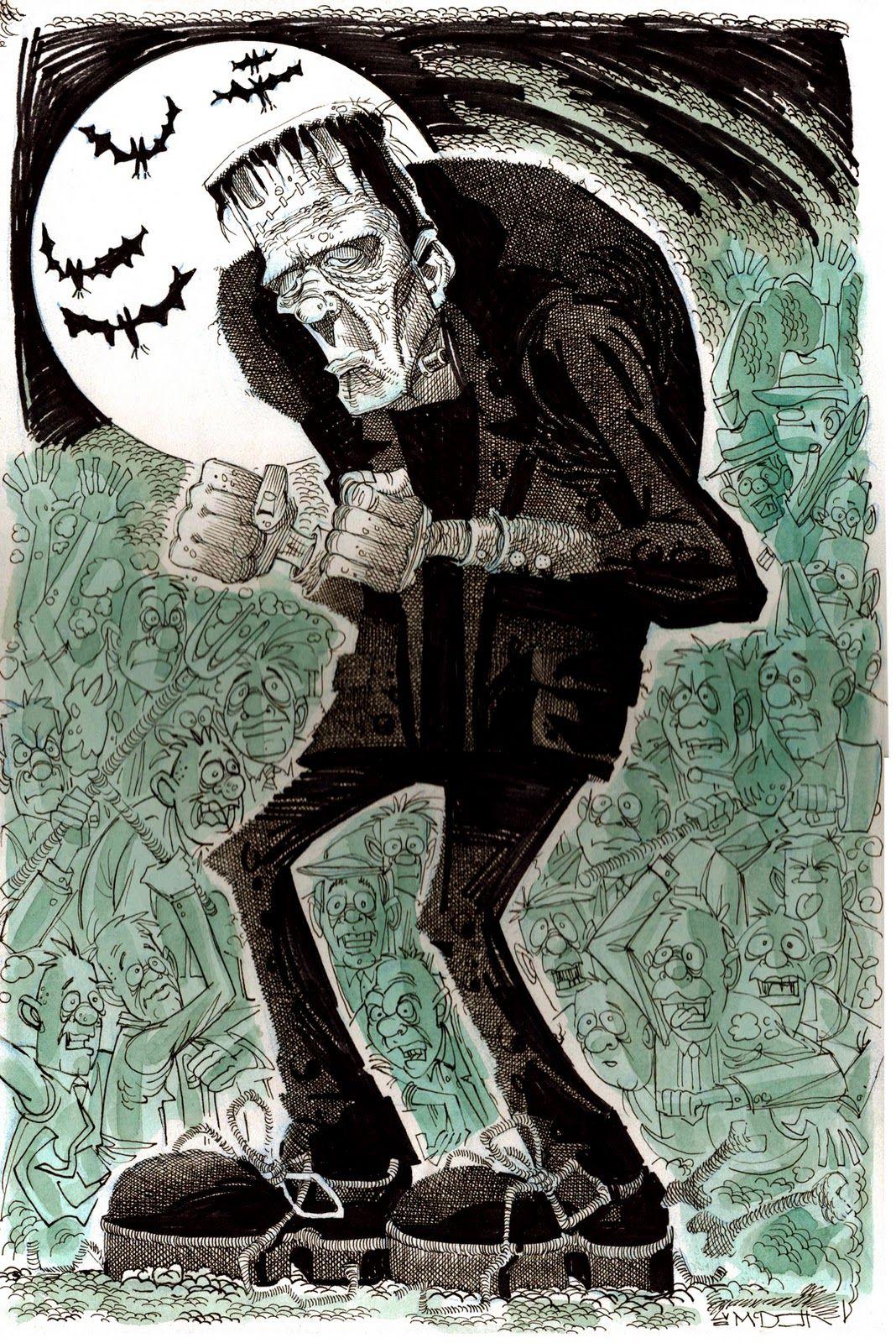 Moonlight Dance Frankenstein Art Horror Art Horror Monsters