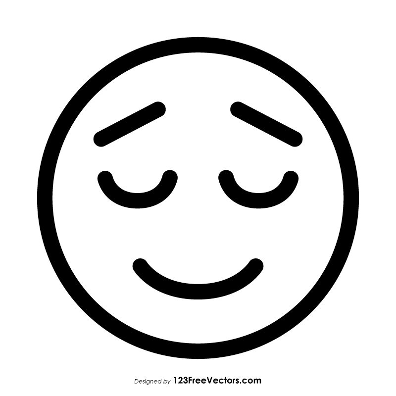 Relieved Face Emoji Outline Vector Free Emoji Coloring Pages Emoji Drawings Emoji