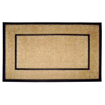 Coir/Rubber Frame 22 inch x 36 inch Mat, Plain, Multicolor