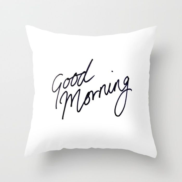 Good Morning White Throw Pillow With Black Script Writing Hand