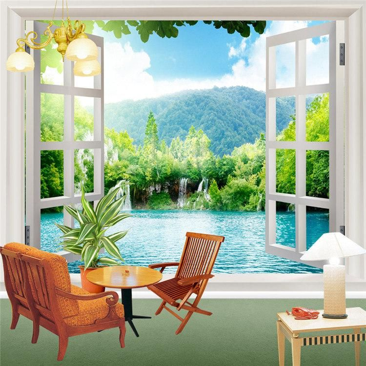 Window 3d waterfalls forest view wall stickers art mural for 3d mural wallpaper for bedroom