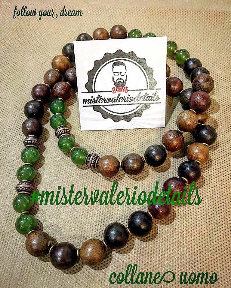 vendite calde 94e9d b9ad3 Collana uomo legno e perle in vetro   Perle