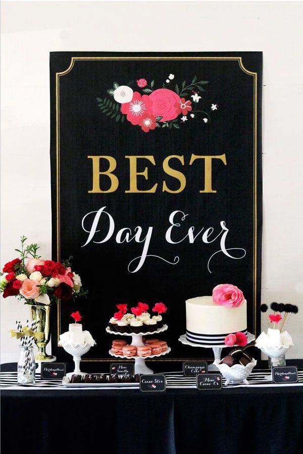Best Day Ever: Glamorous Black   Floral Bridal Shower