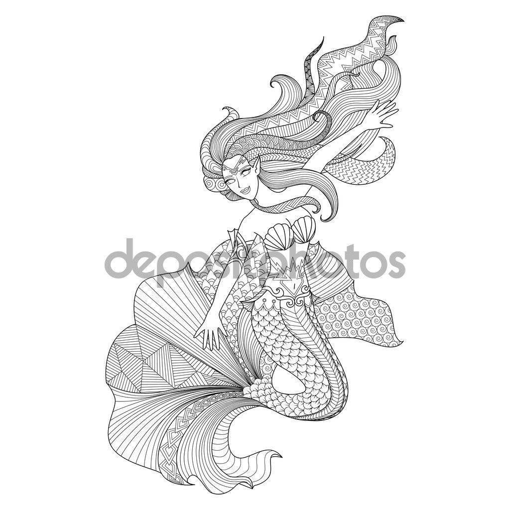 Zentangle detallada de sirena para colorear página - Ilustración de ...