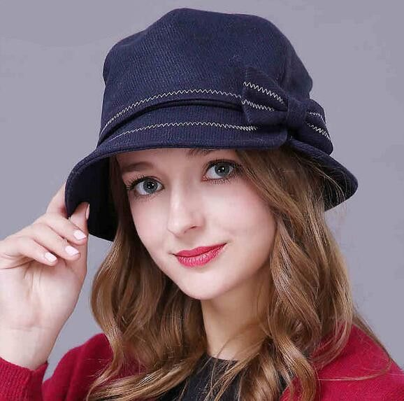 Fashion bow bucket hat wool winter hats warm for lady  91d42097af9