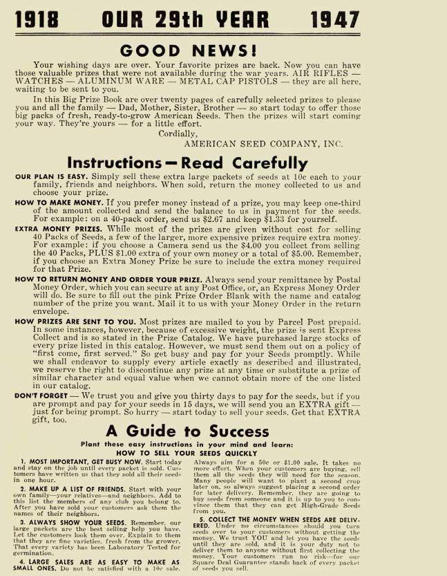 PaperSponge.com Vintage Ephemera, Postcard, Paper & Book Blog - HOME - 1947 American Seed Co. Big Prize Book Catalog - Part2