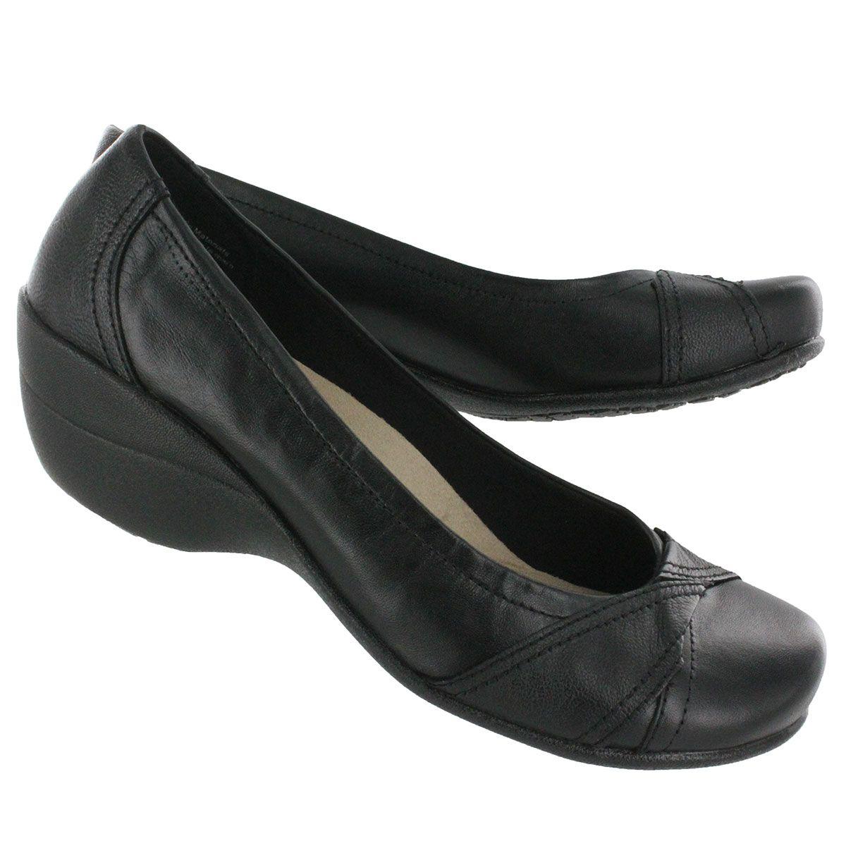 Women's KANA black slip on wedge pumps