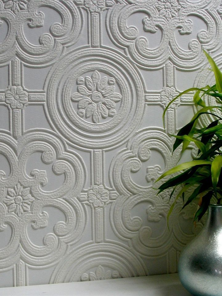 Dress up walls with textured, paintable wallpaper called