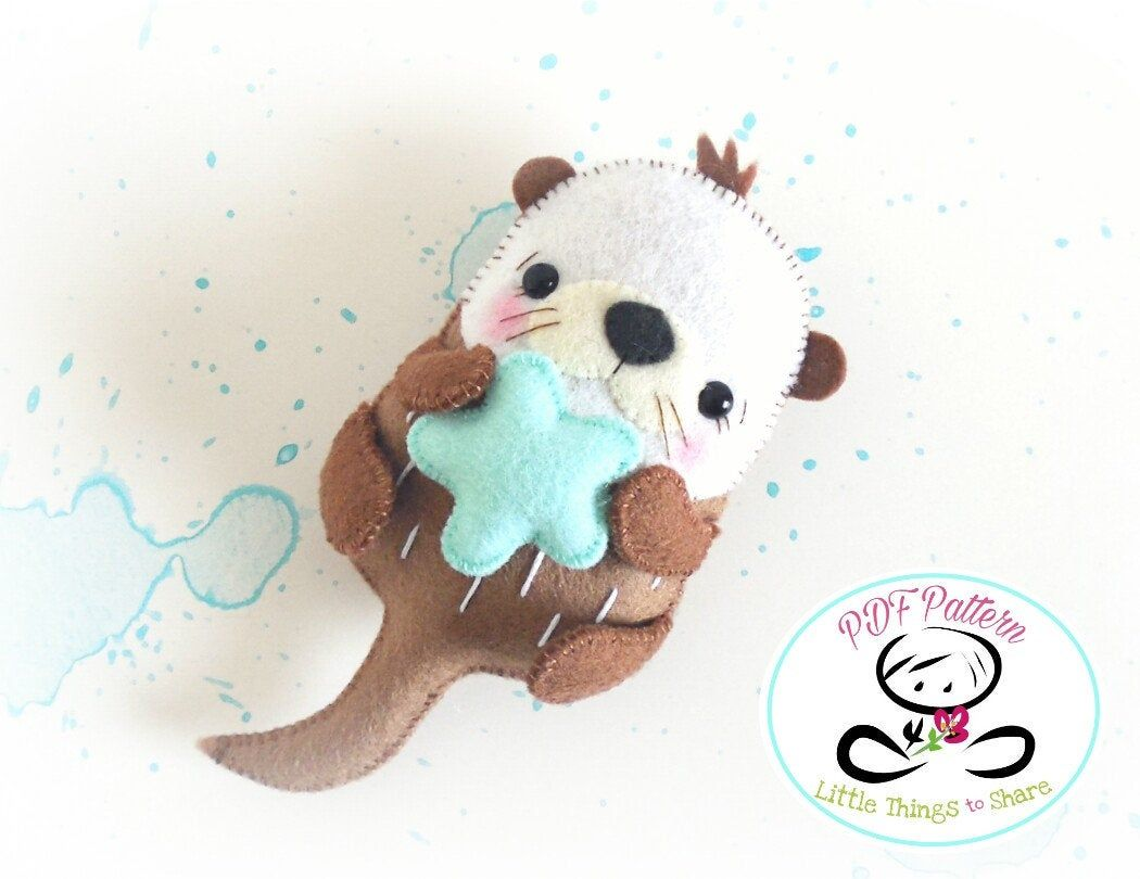 Bubble the Sea Otter PDF pattern-Sea animal toy-DIY-Nursery | Etsy