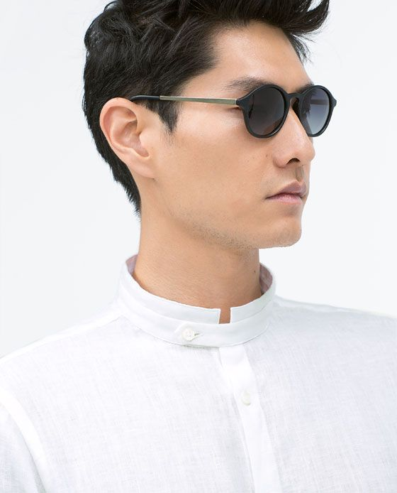 Image 4 of LINEN SHIRT WITH MAO COLLAR from Zara