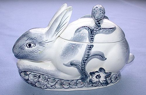 Beautiful Antique 1890 - 1920 Italy Rabbit Hare Biscuit, Cracker or Cookie Jar | eBay