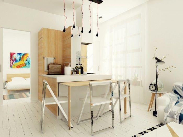 Cuisine Astucieuse Dans Un Appartement De M Table - Table a manger escamotable pour idees de deco de cuisine