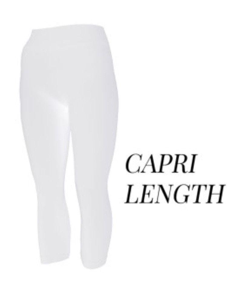 White Regular Length Leggings & Capri Length in One Size Fits Most Regular Sizes & in Plus Size