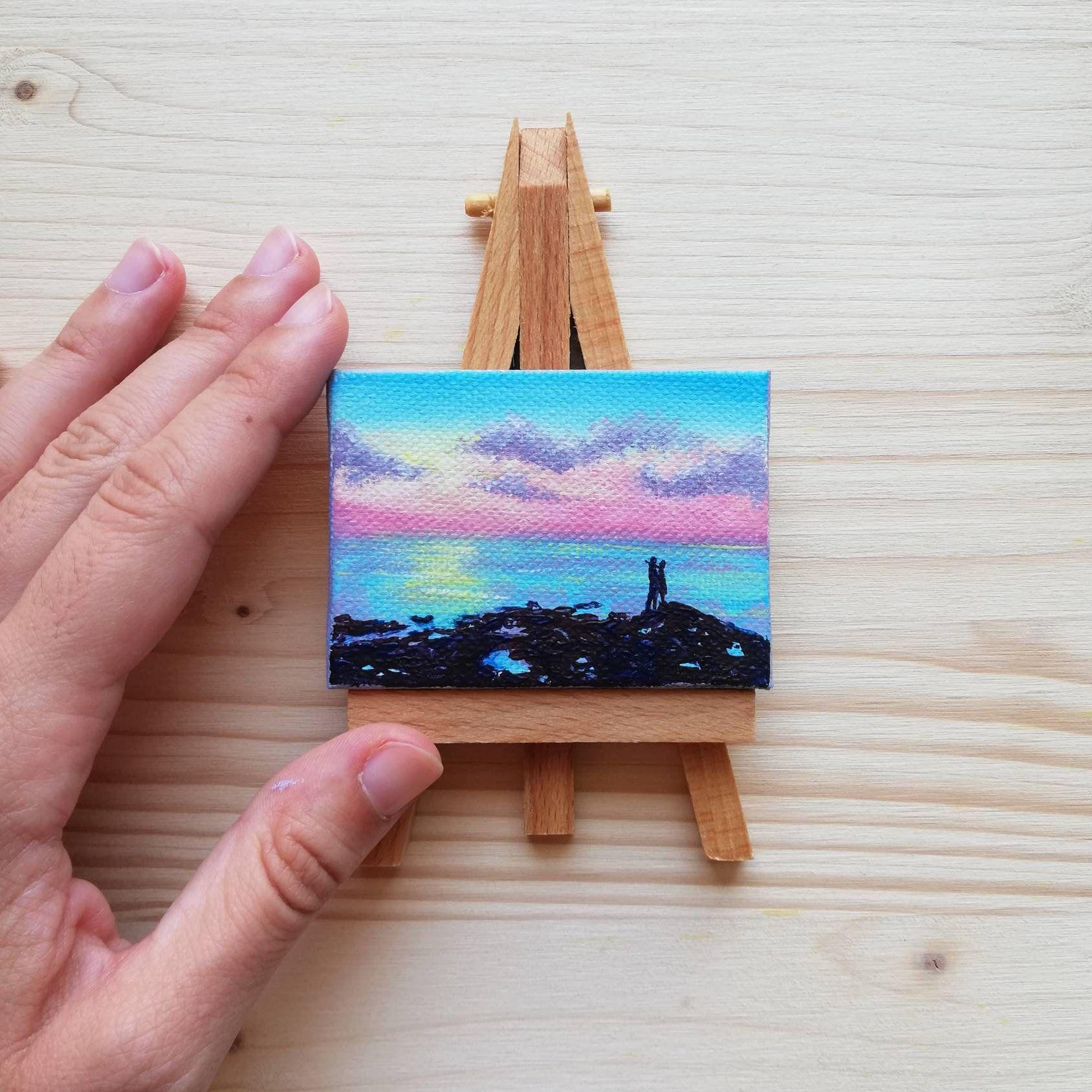 Segnaposto Matrimonio Quadri.Rainbow Sunset At The Sea Painted On Mini Canvas Wedding