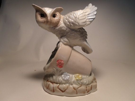 Artmark Owl On Flower Pot Taiwan Excellent By Andersonsvintage 16 00 Flower Pots Owl Custom Lures