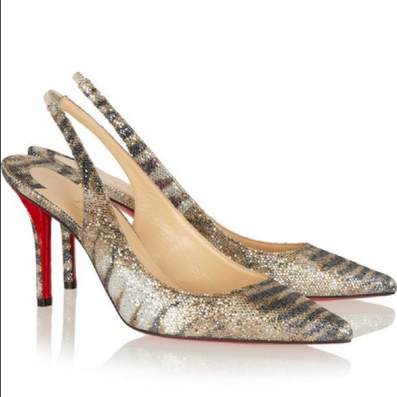 christian louboutin apostrophy 85 printed glitter-finished leather slingback pumps