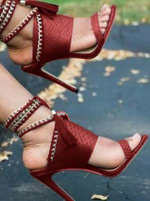 Zapatos De Marca. Chain Bandage Double Tassel Stiletto Sandals (US4.5 US5.5  US6 652662fa94b6