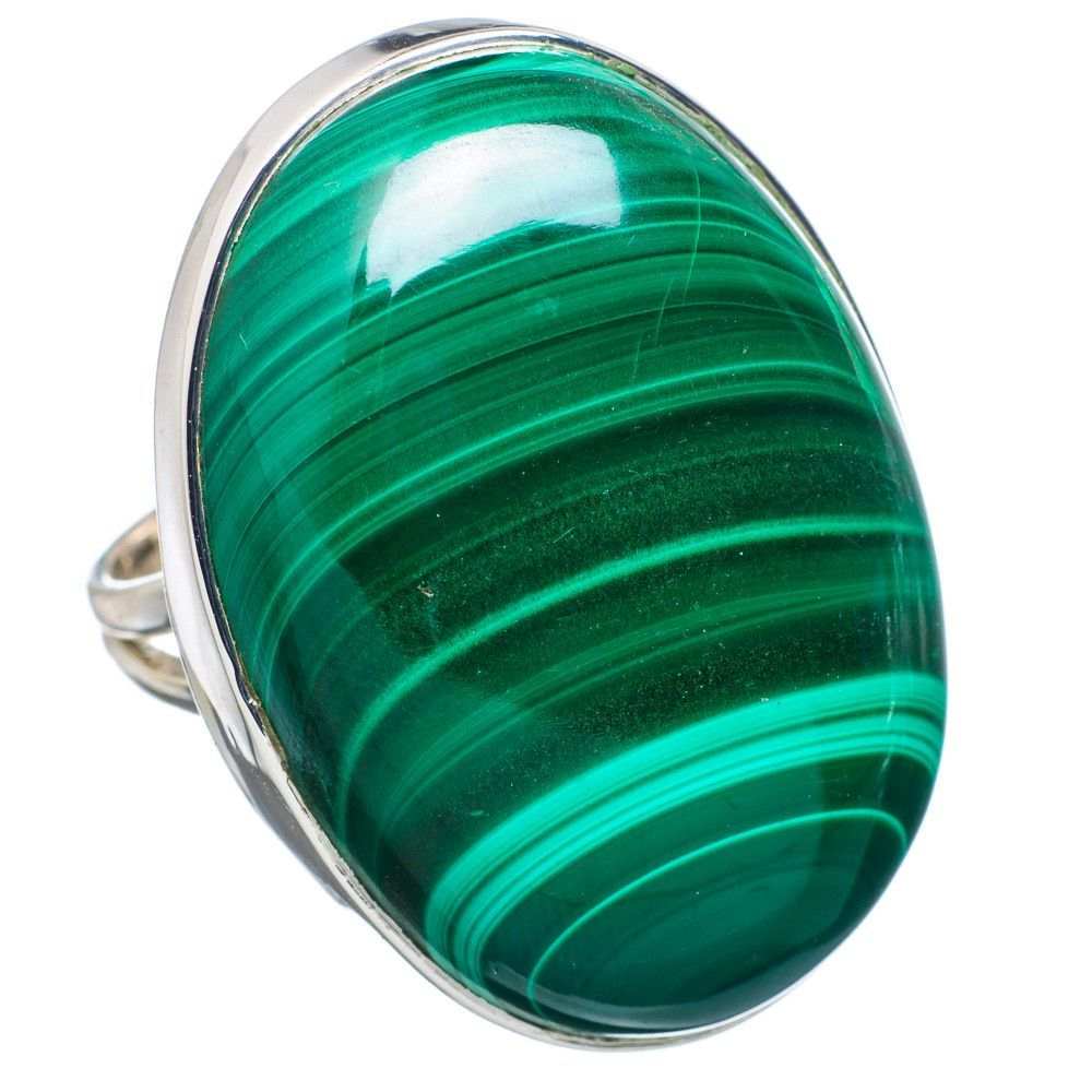 Huge malachite sterling silver ring size ring