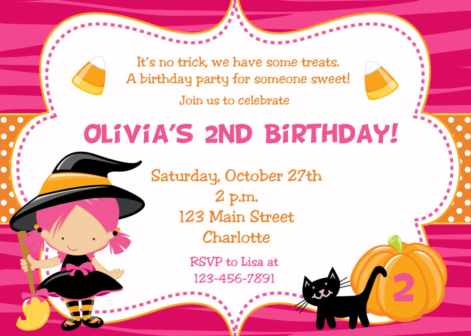 Halloween party invitation -- witch halloween birthday party ...