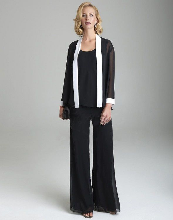 Elegant Full Sleeve O-Neck Color-Matching 2-Tone Chiffon Pants Suit ...