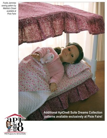 AptOne8 Suite Dreams Collection: Curved Canopy Bed Pattern 18 inch American Girl Dolls | Pixie Faire