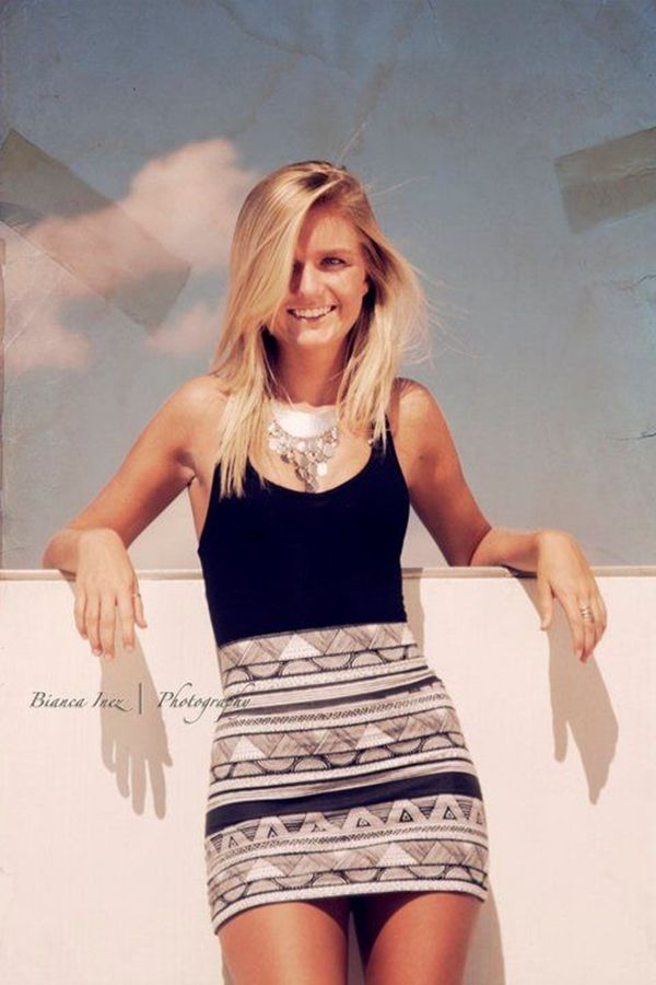 Black Tank and Fitted Printed Skirt with Statement Necklace
