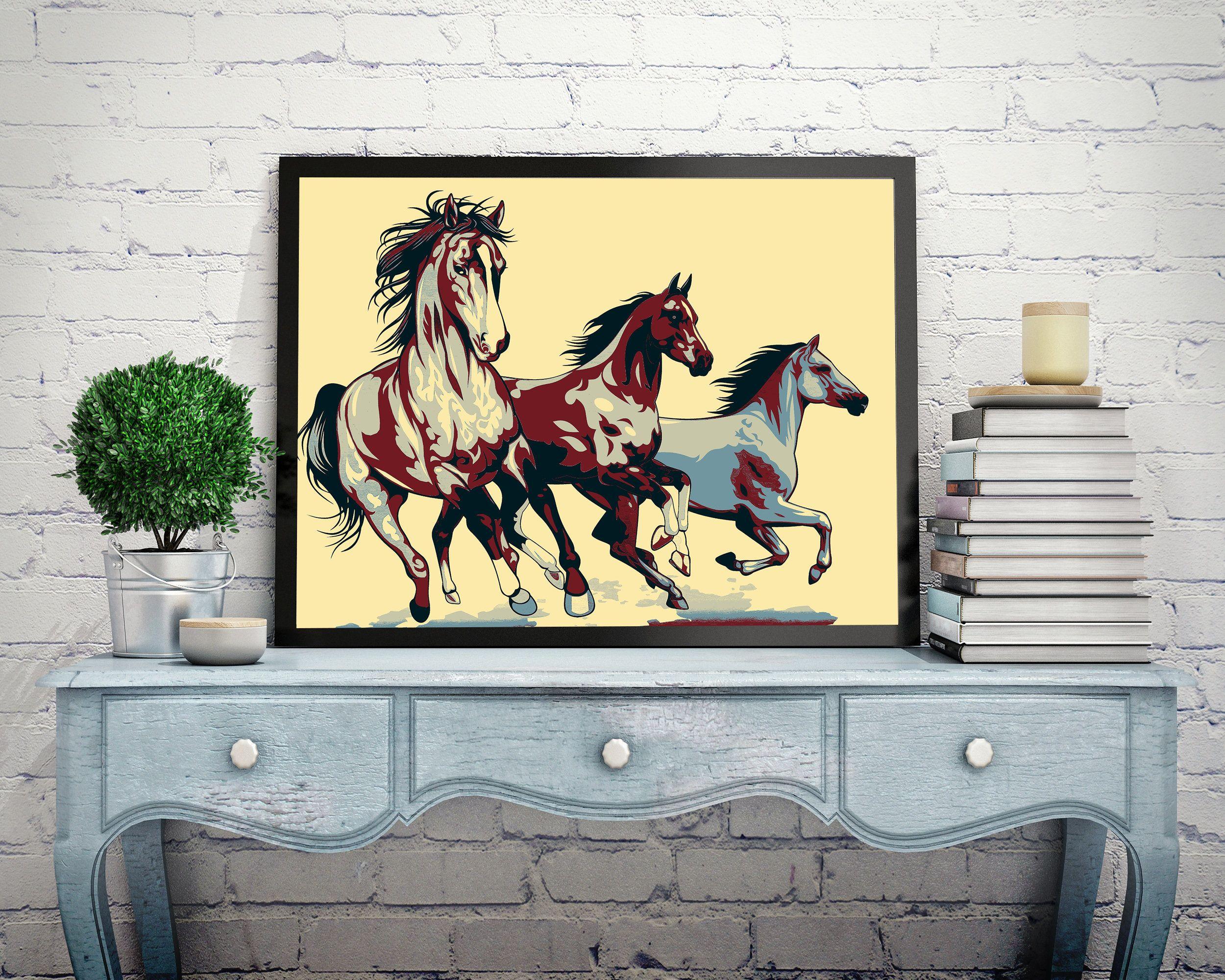 Fine Art Print, art ptint poster three horses, painting art, wall ...