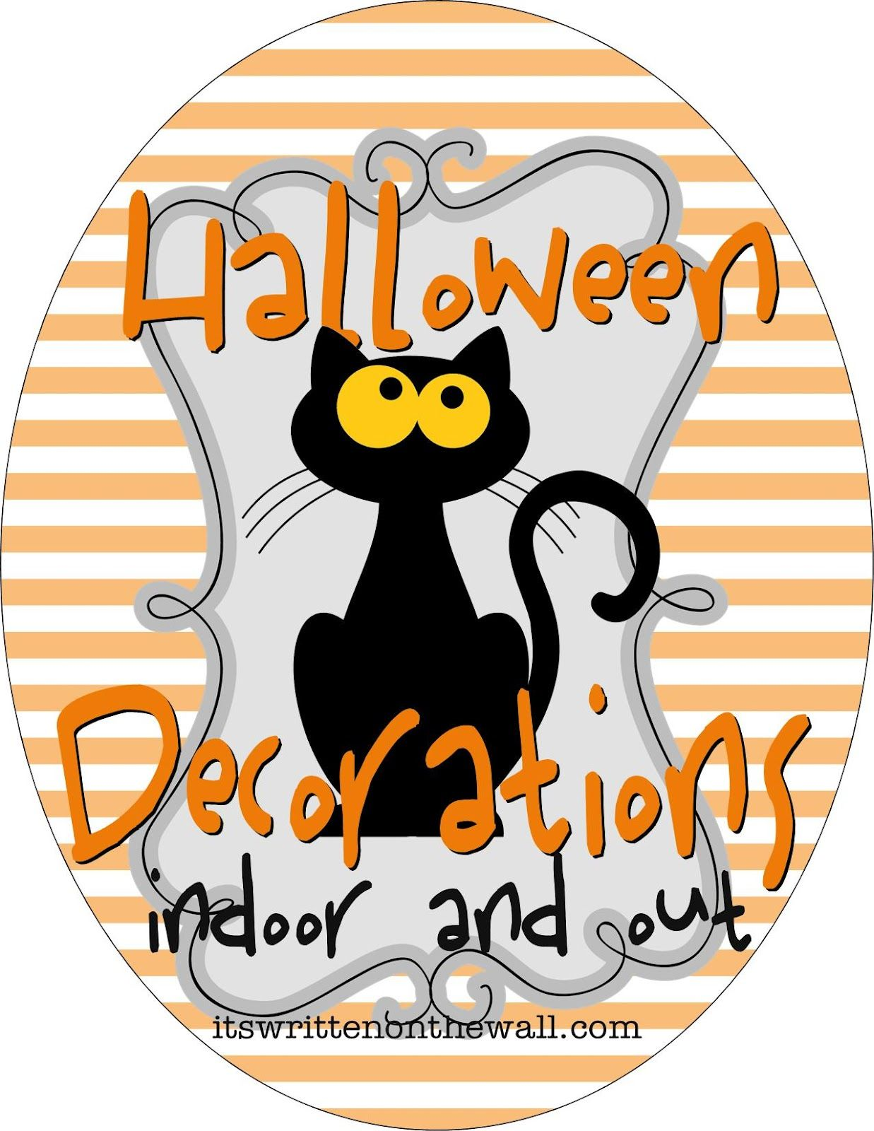 It's Written on the Wall:  Halloween decorations for inside and outside. Ghosts, pumpkins wreaths and much more