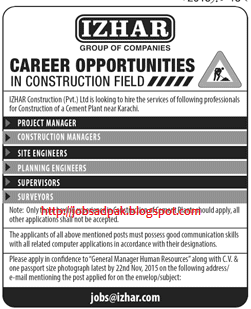 Izhar Group Jobs Project Manager Site Engineers And Surveyors