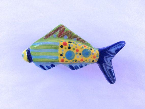 Nautical Knob Pull Ceramic Fish Knob Beach House Knobs Fish Drawer Pull Fish Drawer Handles Kitchen Cabinet Knob Colorful Fish Knob