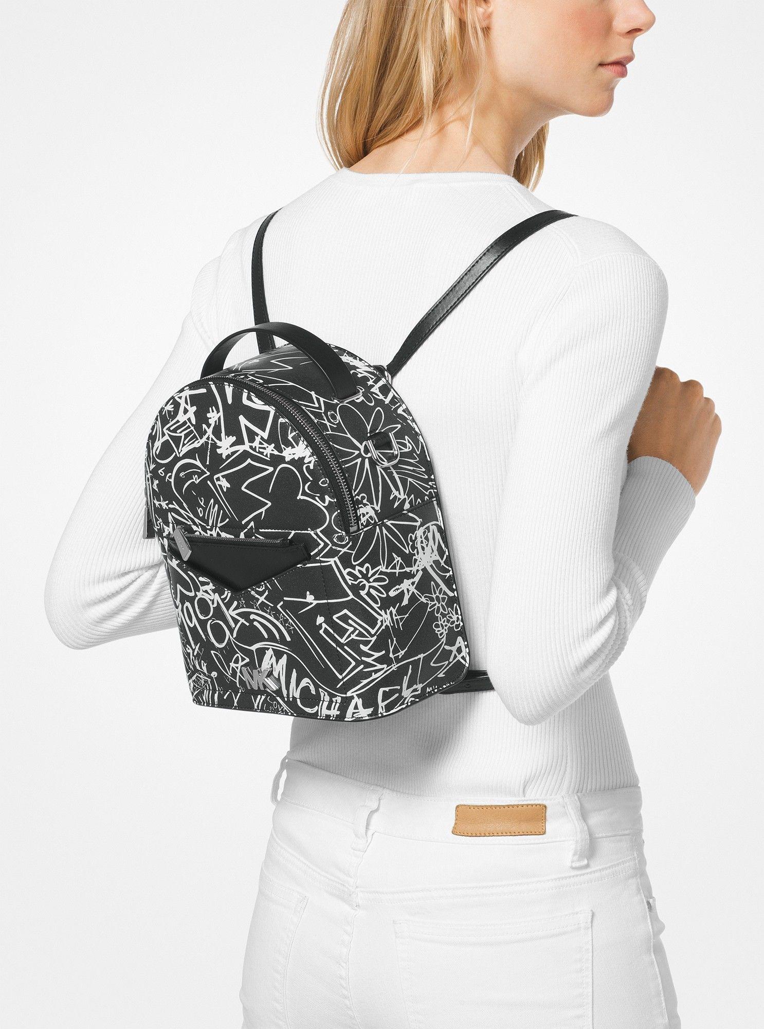 d45fb6c52e70 Michael Kors Jessa Small Graffiti Leather Convertible Backpack - Optic White