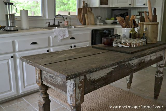 Our Vintage Home Love Farmhouse Table A Cool Way To Create More Bench Space Or A Mini Breakfast Bar Farmhouse Table Farmhouse Kitchen Tables Antique Kitchen Island