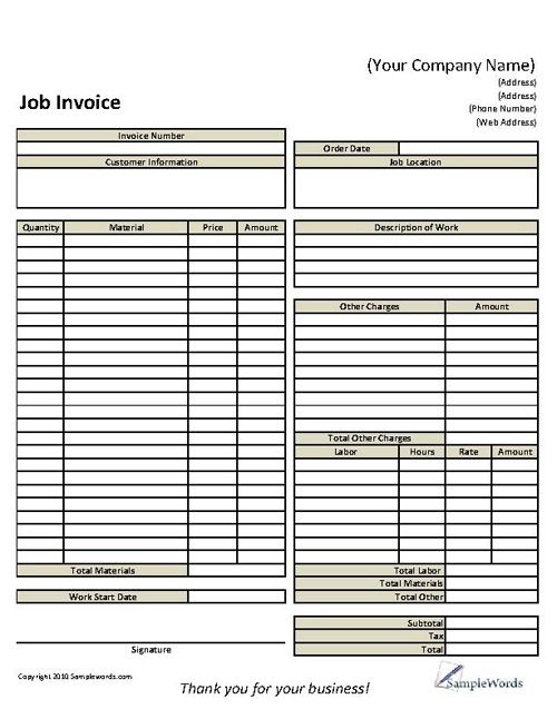 Basic Job Invoice  Template For Business Or Individual  Business
