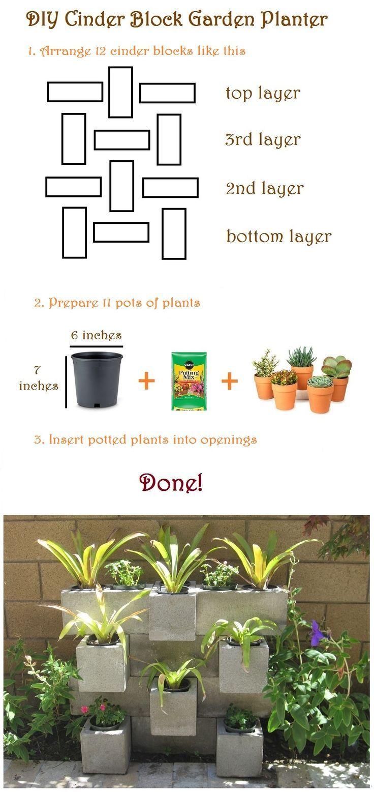 Mueble jardin proyectos house pinterest jard n for Bloques de cemento para jardin