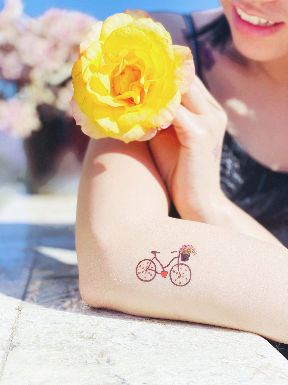 Bike tattoo set of 6 small temporary tattoo bicycle